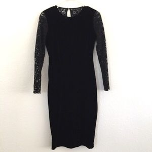 Zara Black Velvet Long Sleeve Bodycon Dress Size M